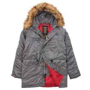 Picture of ALPHA INDUSTRIES SLIM FIT N-3B PARKA GUN METAL/RED