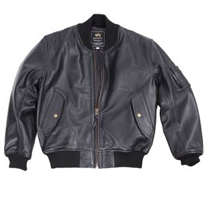 Picture of Alpha Industries MA-1 Leather Jacket Black