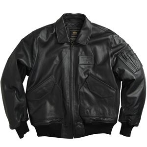Picture of Alpha Industries CWU45/P Leather Jacket Black