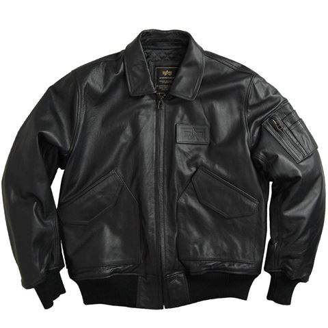 Alpha Industries CWU45P Leather Jacket Black