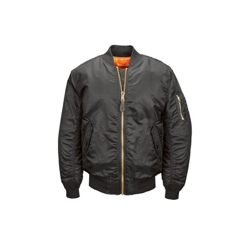 Picture of ALPHA INDUSTRIES WOMEN'S MA-1 FLIGHT REVERSIBLE BOMBER NYLON JACKET BLACK
