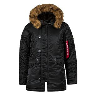 Picture of ALPHA INDUSTRIES SLIM FIT N-3B PARKA BLACK/ORANGE WITH BROWN FUR