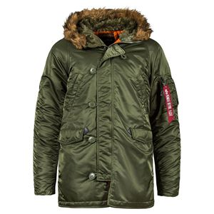 Picture of ALPHA INDUSTRIES SLIM FIT N-3B PARKA SAGE/ORANGE