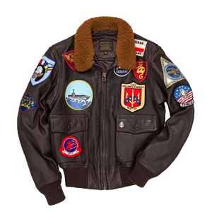 "Picture of Cockpit USA ""Movie Heroes"" Top Gun Navy G-1 Jacket Brown (Long) Made in USA"