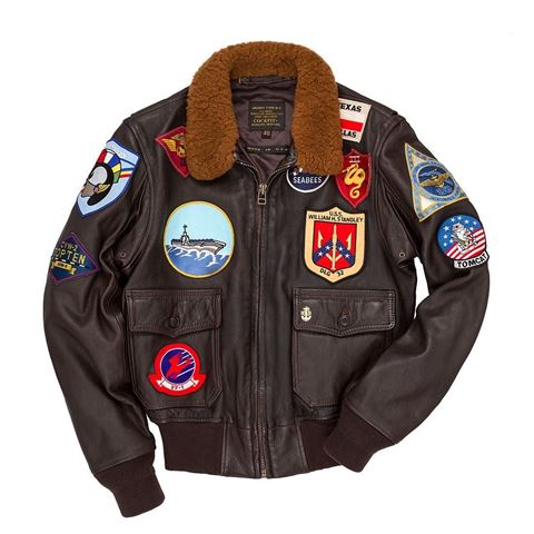"""Picture of Cockpit USA """"Movie Heroes"""" Top Gun Navy G-1 Jacket Brown (Long) Made in USA"""